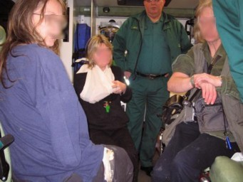Injured saboteurs being treated in ambulance